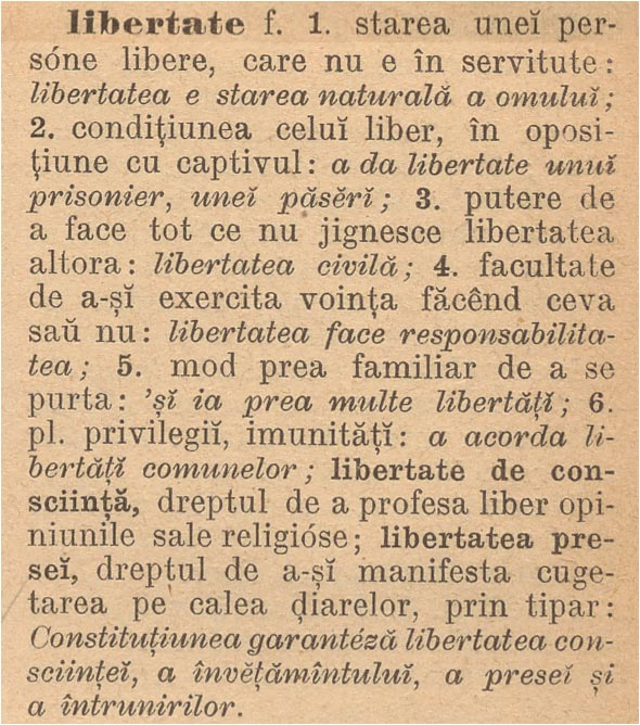 dictionar 01: libertate
