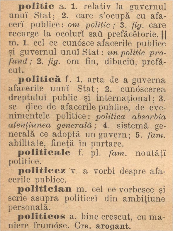 dictionar 02: politica