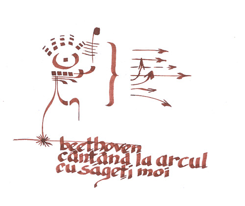 beethoven cantand la arcul cu sageti moi