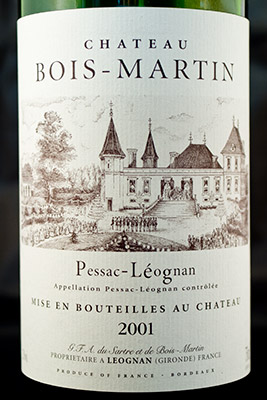 Chateau Bois-Martin 2001 - Pessac-Leognan